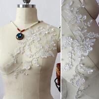 Silber Verschnürt Spitze Applikation Hochzeit Zum Aufnähen Blumen Stickerei