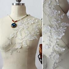 Sliver Corded Lace Applique Wedding Sew on Applique Floral Embroidery Motif