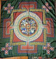 Medieval Art Scarf Vtg 70s Book of Kells or French Manuscript Inspired MINT