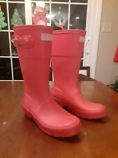 Girls Hunter Pink Rubber Waterproof Slip-on Boots Size 4