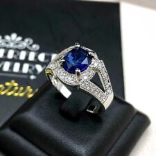 CEYLON 2.64TCW Blue Sapphire Diamond 18K white gold Ring natural engagement halo