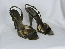 Gucci women's sling back sandals metal green preowned size 9.5B w/ box + more