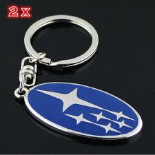2 pieces Subaru Car keyrings key rings Key chains Metal Stainless Steel Polished