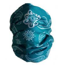 Tube Snood Scarf Blue White Paisley Biker Mask for under Helmet Ski Face Neck