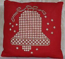 Hardanger Weihnachtspolster rot mit goldener Glocke, neu, ca. 34 x 34cm