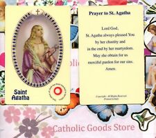 Saint St. Agatha with Prayer  (S3) - Relic Plastic Holy Card