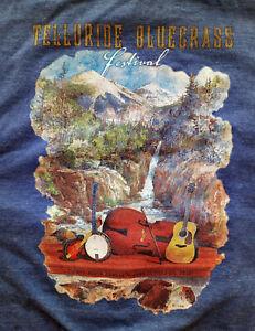 39th Annual Telluride Bluegrass Festival  T-Shirt June 21-24 2012, Blue, Size XL