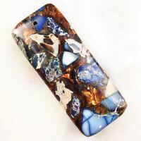 Blue Sea Sediment Jasper & Gold Copper Bornite Stone Oblong Pendant Bead