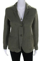 Theory Womens Solid Notched Collar Two Button Blazer Jacket Green Size 0