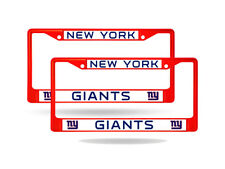 New York Giants Red Painted Chrome Metal (2) License Plate Frame Set