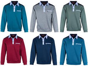 Herren Sweatshirt, Polohemd, Pullover mit Hemdkragen, Meliert - 6 Farben