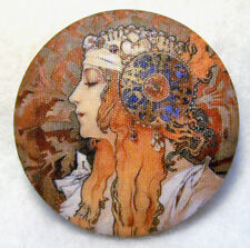 Art Nouveau Woman M31 Hand Printed Fabric Covered Button - So Beautiful!