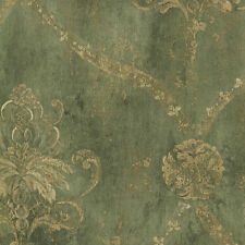 Large Gold Damask on Green Faux Background Wallpaper CH22568 Free ship 33 feet