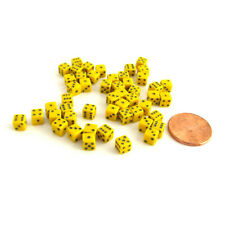50 Six Sided D6 5mm .197 Inch Die Small Tiny Mini Miniature Yellow Dice