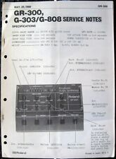 Roland GR-300 G-303 / G-808 Guitar Synth Original Service Manual Schematics Book