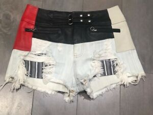 Authentic ALEXANDER WANG Denim / Leather Shorts Size 4