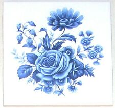 "Old Fashion Blue Delft Theme Rose Flower #2 Ceramic Tile 4.25"" Kiln fired Decor"