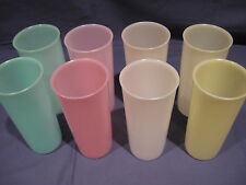 TUPPERWARE vintage 8 pastel glasses/tumblers--12 oz