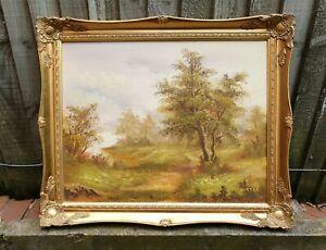 Large Original Vintage Ornate Gold Framed Landscape Oil Painting By Carter