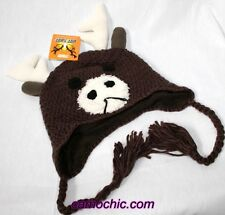 MOOSE BABY INFANT TODDLER KNIT HAT or CAP - ANIMAL BEANIE, TASSELS