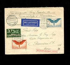 Zeppelin Sieger 44 1929 Spain Flight SwitzerlandTreaty Dispatch BEAUTIFUL