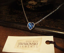 Sapphire Blue Crystal Heart Necklace Made with Swarovski Elements