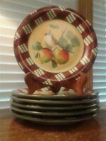 Set of Six Lenox Winter Greetings Everyday Dinner Plates Tartan Tufted Titmouse