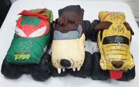Monster Jam Stuffed Plush Trucks Autographed Lot of 3 TMNT Taz Monster Mutt