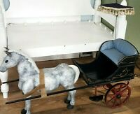Large Miniature Horse &Drawn Carriage Sulky Wood Buggy for Antique Dolls VTG Toy