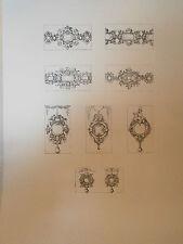 Planche gravure Moyen age Jacques Androuet du cerceau 4 agrafes de collier