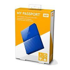 4TB WD My Passport Hard Disk Portatile e software di backup automatico-Blu Nuovo Regno Unito