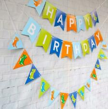 Green Dinosaur Happy Birthday Hanging Bunting Party Decoration Garland Banners