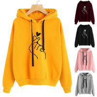 Women Ladies Long Sleeve Love Heart Finger Hood Sweatshirt Hoody Casual Hoodies