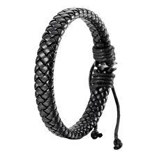 Leather Bracelet Bangle Cuff Rope Black Surfer Wrap Adjustable Men,Women  BT