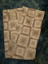CROSCILL FABRIC SHOWER CURTAIN NEW BROWN GEOMETRIC PRINT HEAVY SHINY