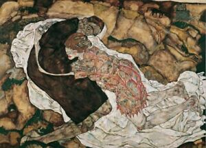 Death and the Maiden, detail, EGON SCHIELE Expressionism Vienna Secession Poster