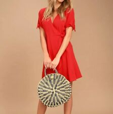 Lulus Womens Size XS Dress Wrap Red Short Sleeve Casual Front Tie