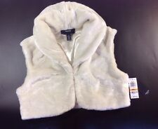NEW ALFANI Bolero Faux Fur Dress Jacket Size Small Ivory White Shrug Vest Coat S