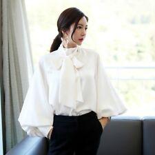 Women Chic Satin Lantern Sleeve Shirt Bow Tie Neck Loose Blouse Top Elegant UK a