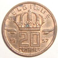1957 BELGIUM 20 CENTIMES NICE WORLD COIN
