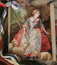 Beautiful  Preworked Tramme Tapestry Needlepoint Canvas Kits The Shepherdess