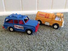 2 TootsieToy Blue SWAT Car~1970 Yellow Shell Oil Tanker Truck~Diecast Plastic