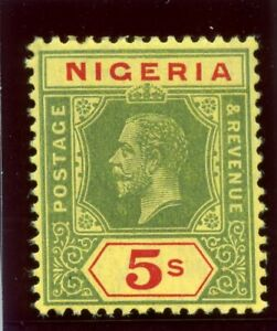Nigeria 1915 KGV 5s green & red/yellow (lemon back) MLH. SG 10a. Sc 10.