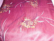 Vintage fabric - 2 yds poly jersey marooon with tan florals