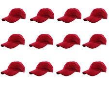Gelante Plain Blank Cotton Baseball Cap Hat Solid Adjustable Wholesale LOT 12pcs