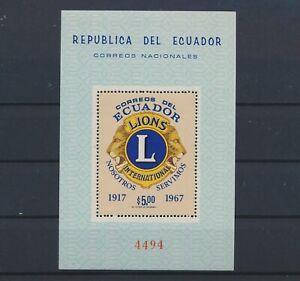 LO40157 Ecuador 1967 anniversary lion's club good sheet MNH