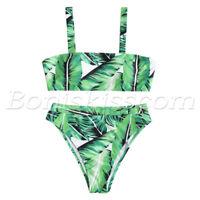 2pcs Women's Top Bottom Removable Strap High Waist Padded Bikini Set Swimsuits