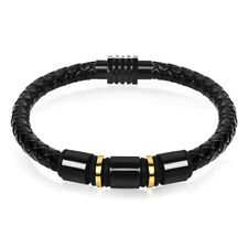 Stylish Men Boy Jewelry Concise Magnetic Clasp Leather Bracelet for Male Gifts Black 22
