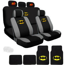 ULTIMATE BATMAN CAR SEAT COVERS COMIC POW HEADREST AND MATS SET FOR JEEP