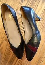 Beautiful K Shoes Size 6.5 Black Multi Leather Courts Quality Women's Low Heel